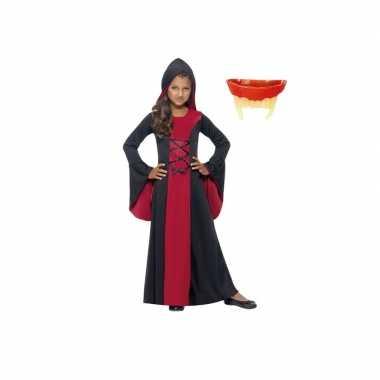 Vampier jurk rood/zwart maat s voor meiden inclusief gebit