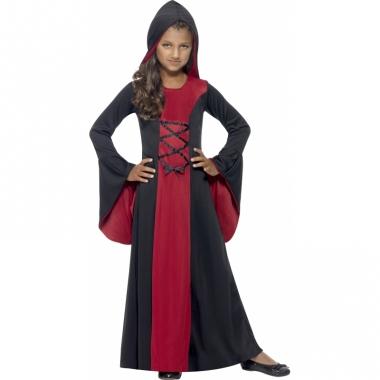 Vampier jurk rood/zwart voor meiden