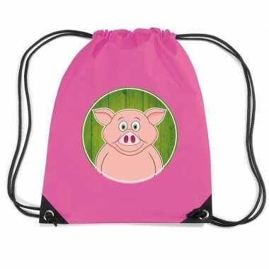 Varken dieren trekkoord rugzak / gymtas roze voor kinderen