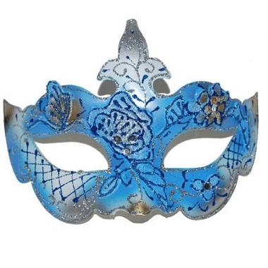 Venetiaans masker blauw/goud
