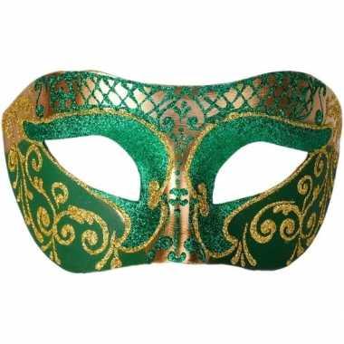 Venetiaans masker glitter groen/goud