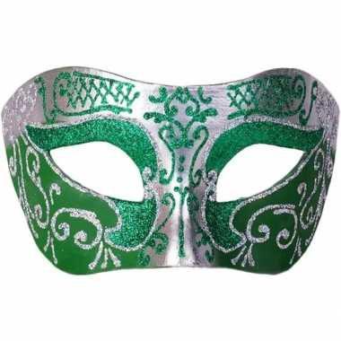 Venetiaans masker glitter groen/zilver