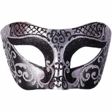 Venetiaans masker glitter zwart/zilver