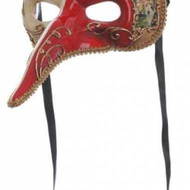 Venetiaans masker rood met wit