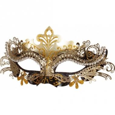 Venetiaans maskertje zwart met goud