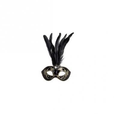 Venetiaanse glitter oogmaskers zwart met veren