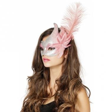 Venetiaanse oogmaskers roze/zilver met veer