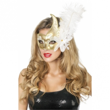 Venetiaanse oogmaskers wit/goud met veer