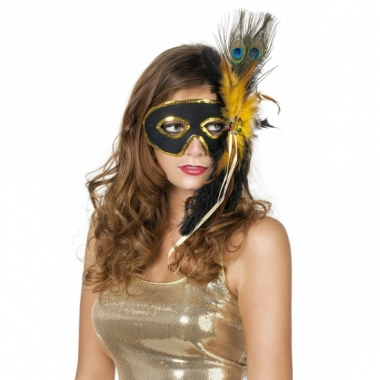 Venetiaanse oogmaskers zwart met pauwenveren