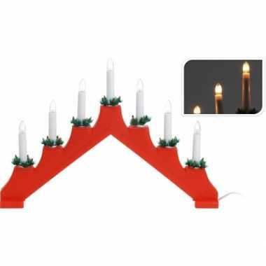 Vensterbank kaarsen standaard rood met licht