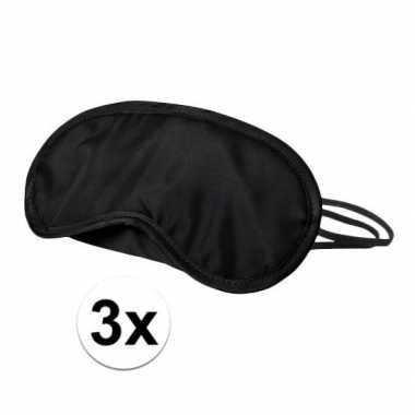 Verduisterend oogmasker zwart 3x