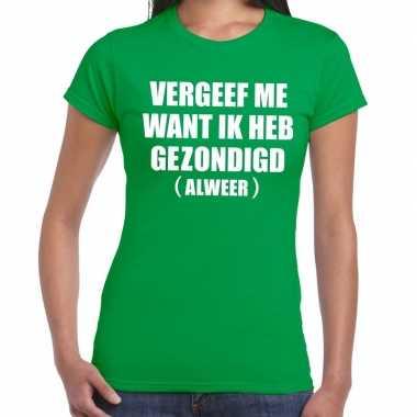 Vergeef me fun t-shirt groen voor dames