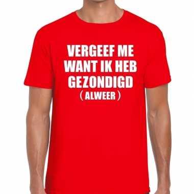 Vergeef me fun t-shirt voor heren rood