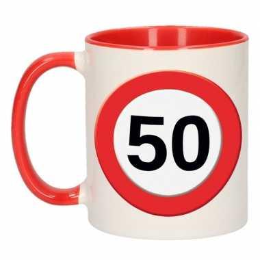 Verjaardag 50 jaar mok / beker verkeersbord