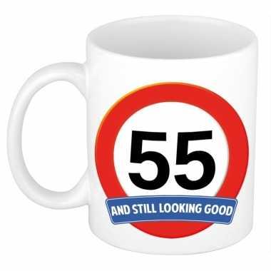 Verjaardag 55 jaar mok / beker stil looking good
