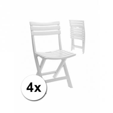 Verjaardag bijzet stoelen wit 4x