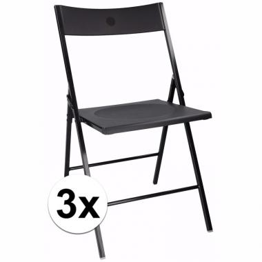 Verjaardag bijzet stoelen zwart 3 stuks