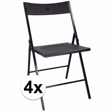 Verjaardag bijzet stoelen zwart 4 stuks