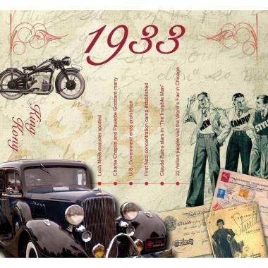 Verjaardag cd-kaart met jaartal 1933
