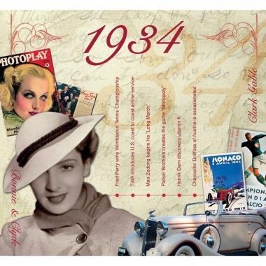 Verjaardag cd-kaart met jaartal 1934