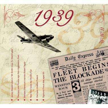 Verjaardag cd-kaart met jaartal 1939