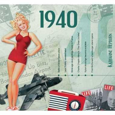 Verjaardag cd-kaart met jaartal 1940