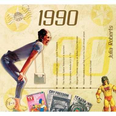 Verjaardag cd-kaart met jaartal 1990