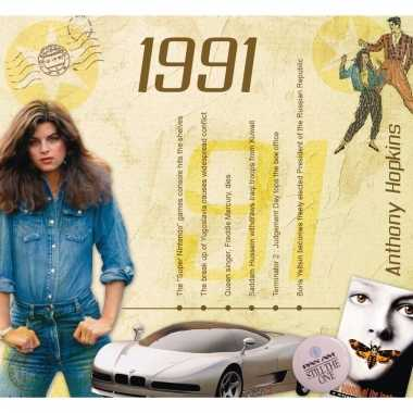 Verjaardag cd-kaart met jaartal 1991