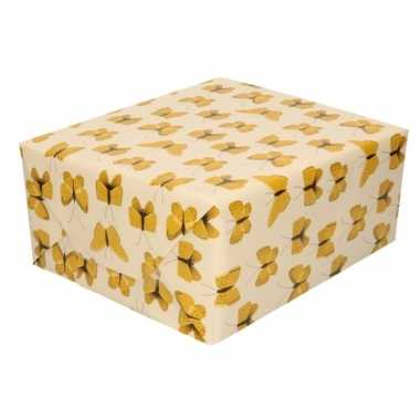 Verjaardag kadopapier beige/geel vlinders 200 x 70 cm voor kinderen