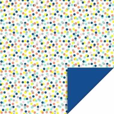 Verjaardag kadopapier gekleurde stippen/confetti print 200 x 70 cm vo