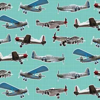 Verjaardag kadopapier mintgroen vliegtuigjes 200 x 70 cm voor kindere