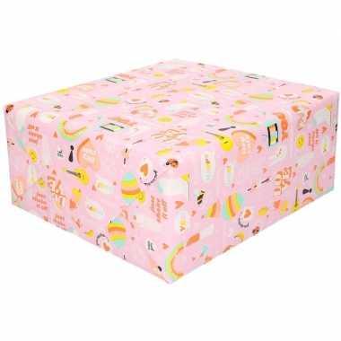Verjaardag kadopapier roze girlpower 200 x 70 cm voor meisjes