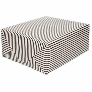 Verjaardag kadopapier zwart/wit gestreept 200 x 70 cm