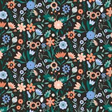 Verjaardag kadopapier zwarte/gekleurde bloemen 200 x 70 cm voor kinde