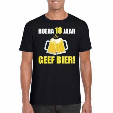 Verjaardag shirt 18 jaar geef bier heren