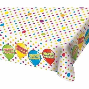 Verjaardag tafellaken met ballonnen 180 cm