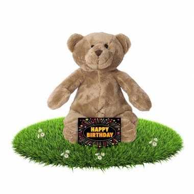 Verjaardagcadeau beren knuffel 17 cm + gratis verjaardagskaart