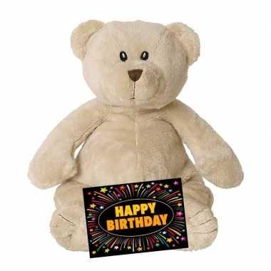 Verjaardagcadeau beren knuffel beige 23 cm + gratis verjaardagskaart