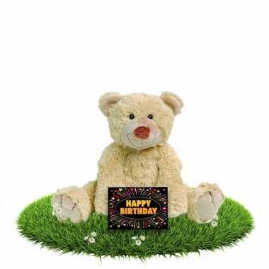 Verjaardagcadeau beren knuffel beige 35 cm + gratis verjaardagskaart
