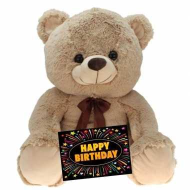 Verjaardagcadeau beren knuffel beige 75 cm + gratis verjaardagskaart