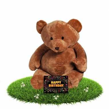 Verjaardagcadeau beren knuffel boris 54 cm + gratis verjaardagskaart