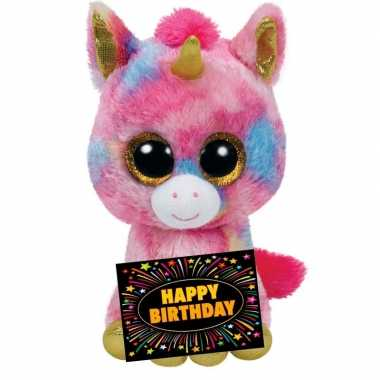 Verjaardagcadeau eenhoorn knuffel ty beanie 24 cm + gratis verjaardag