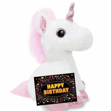 Verjaardagcadeau eenhoorn knuffel ty beanie 30 cm + gratis verjaardag