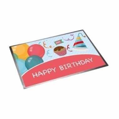 Verjaardagscadeau deurmat happy birthday 40 x 60 cm