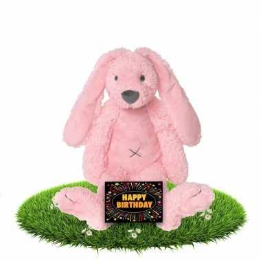 Verjaardagscadeau knuffel konijn/haas 28 cm roze met gratis wenskaart