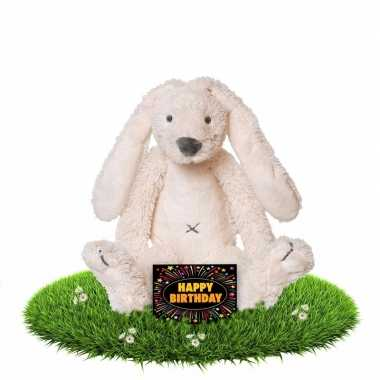 Verjaardagscadeau knuffel konijn/haas 28 cm wit met gratis wenskaart