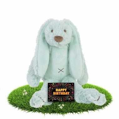Verjaardagscadeau knuffel konijn/haas mint 28 cm met gratis wenskaart