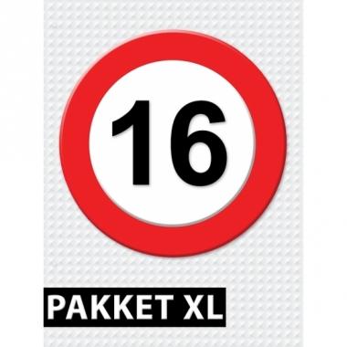 Verkeersbord 16 jaar versiering pakket xl