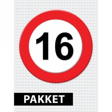 Verkeersbord 16 jaar versiering pakket