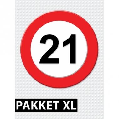 Verkeersbord 21 jaar versiering pakket xl
